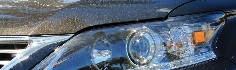 Car headlight closeup