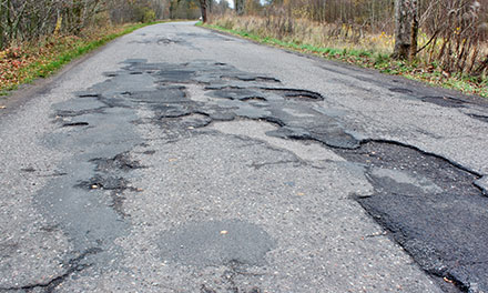 Road full of potholes